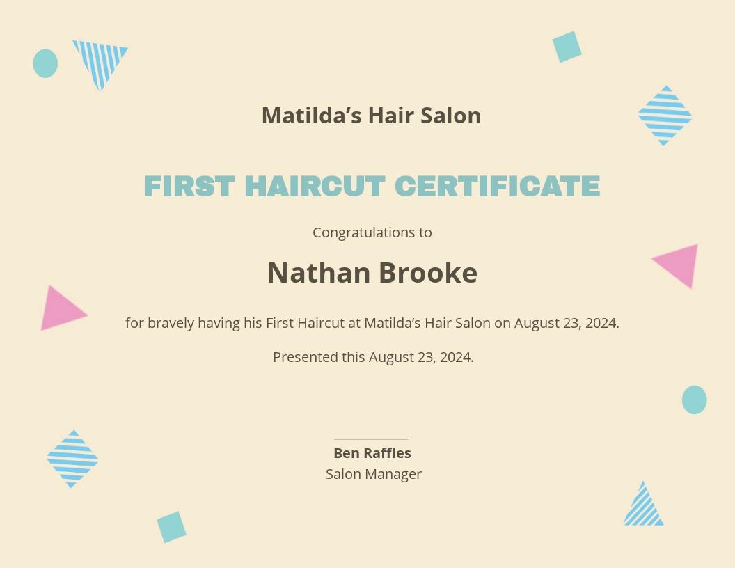 Modern First Haircut Certificate Template.jpe