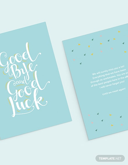 Office Goodbye Card Template Word Psd Apple Pages