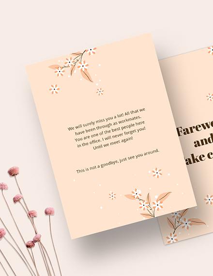 Sample Simple Office Farewell Card