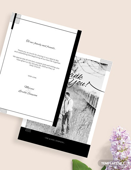 Sample Simple Wedding Thank You Card
