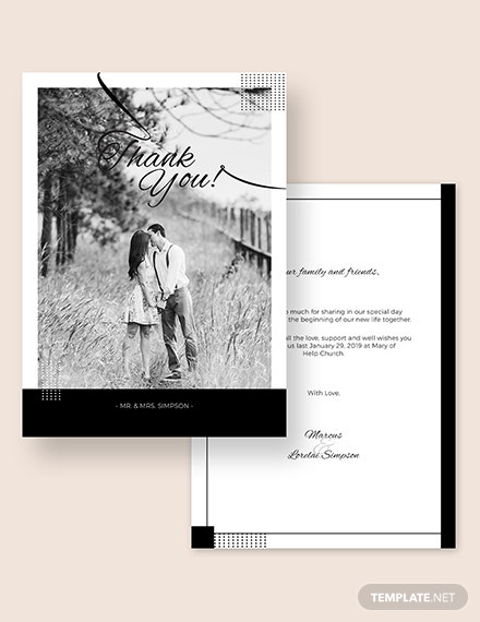 Simple Wedding Thank You Card Download
