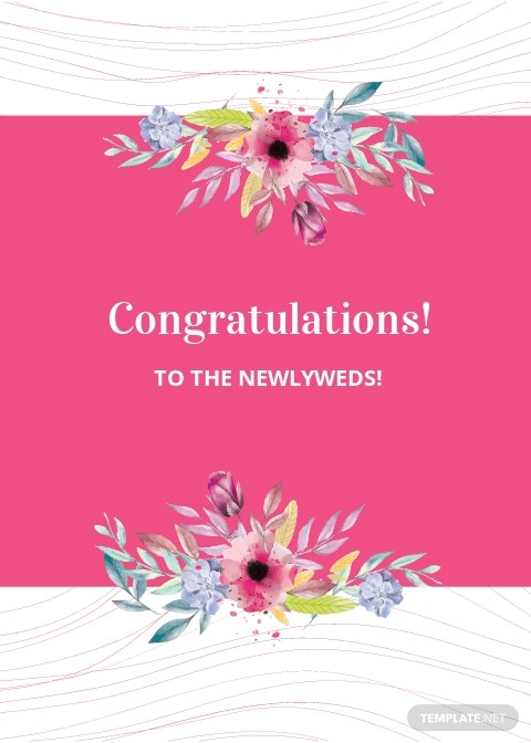 Wedding Congratulations Greeting Card Template