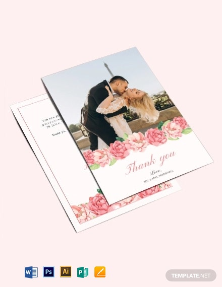 Wedding Photo Thank You Card Template