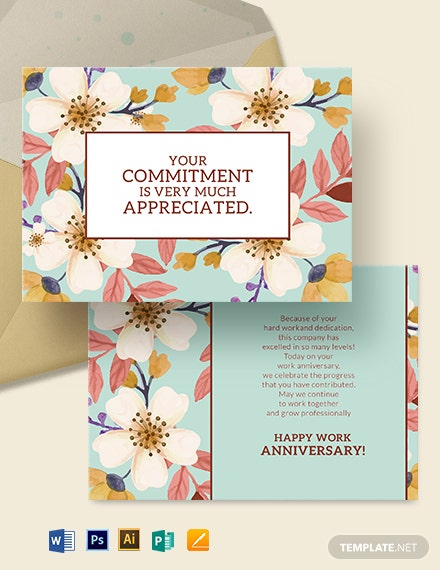 Work Anniversary Card Template