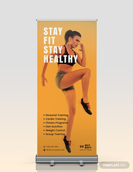 Gym Roll-Up Banner Template