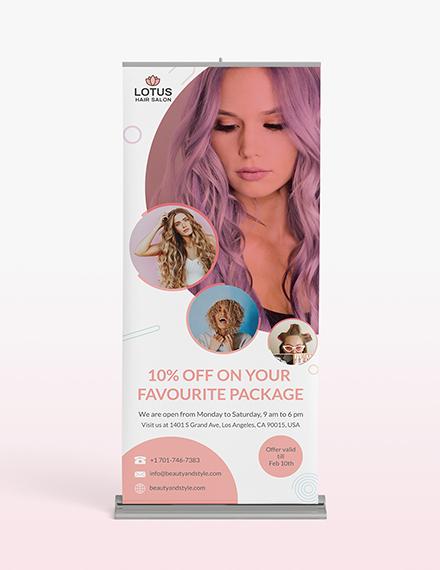 Hair Salon Roll-Up Banner Template