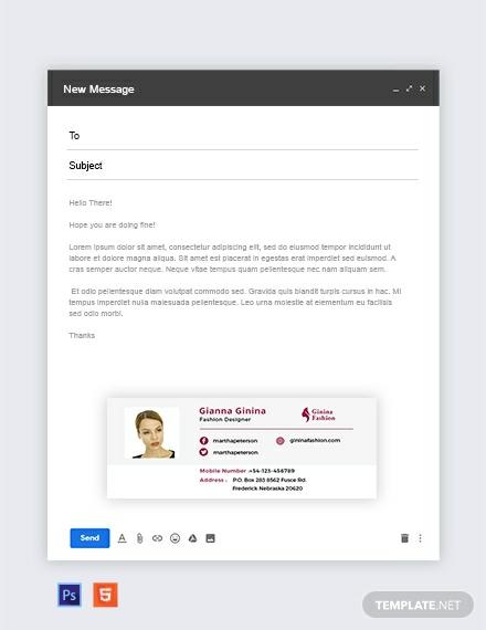 Fashion Designer Email Signature Template