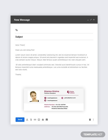 Fashion Designer Email Signature Template