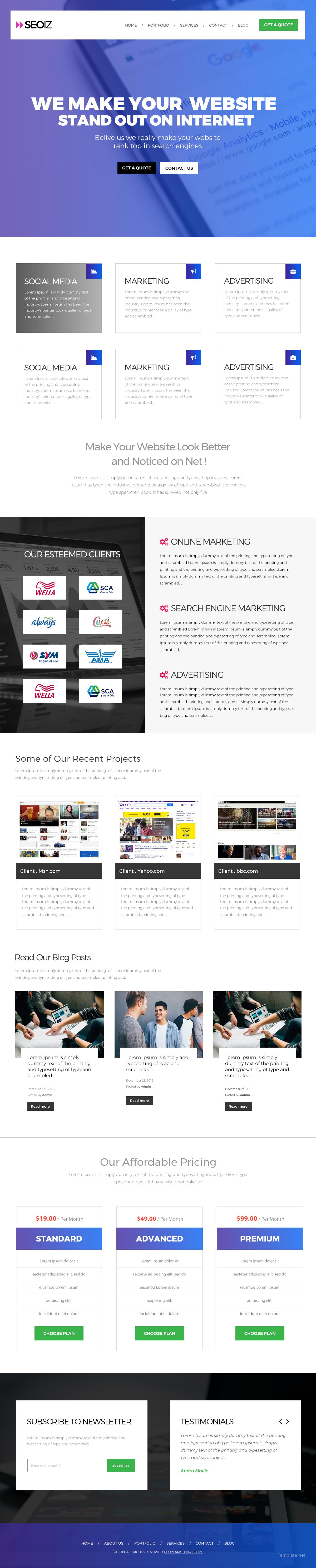 SEO Website Template in PSD | Template.net