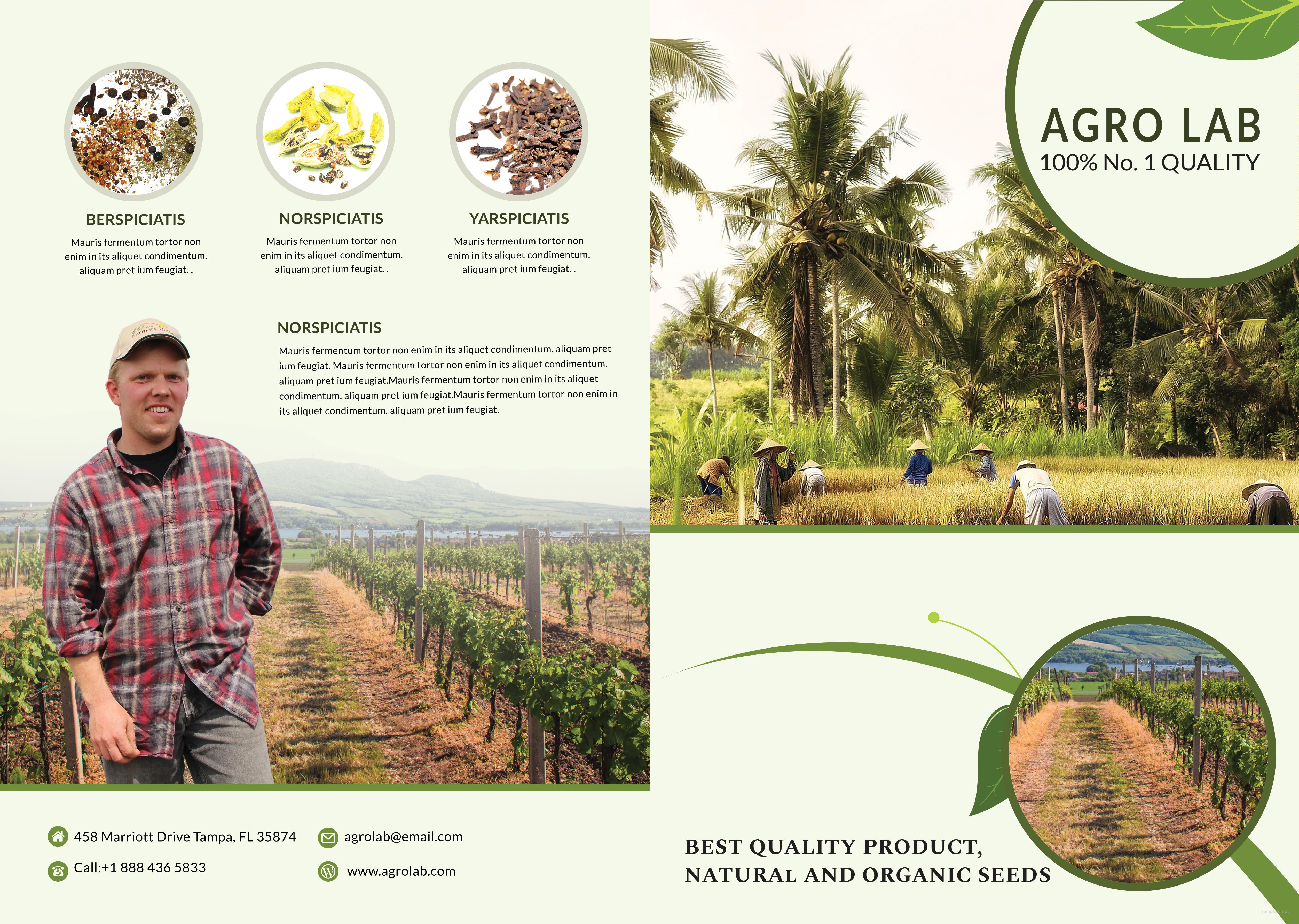 Editable Agriculture BiFold Brochure