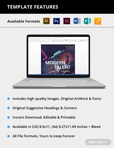 Editable Modern Talent Show Flyer