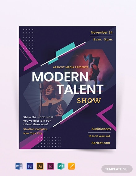 Modern Talent Show Flyer Template