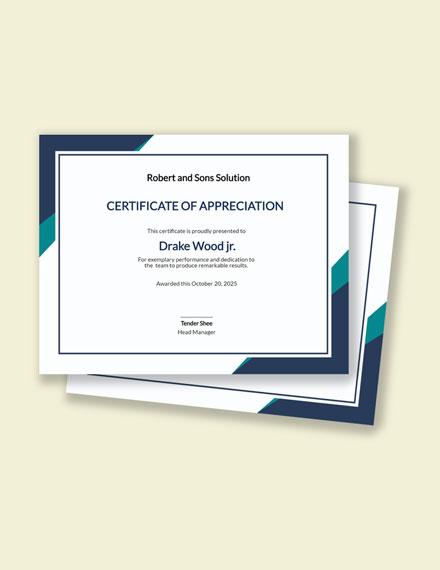 Winning Team Certificate Template