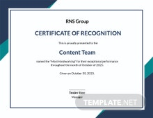 Winning Team Certificate Template