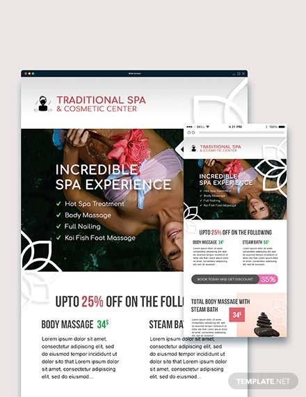 Sample Spa Email Ad