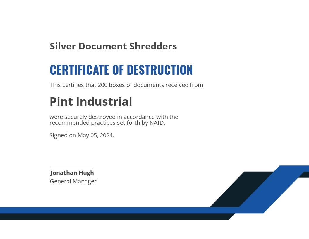 Sample Certificate of Destruction Template