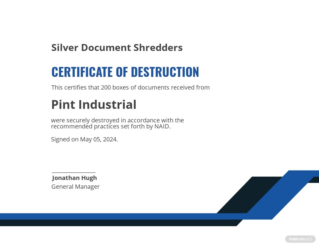 Sample Certificate of Destruction Template