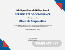 Printable Certificate of Compliance Template