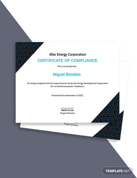 Electrical Certificate of Compliance Template