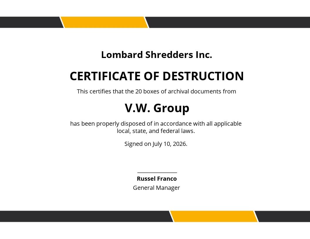 Simple Certificate of Destruction Template