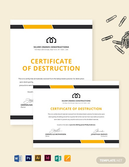 Simple Certificate of Destruction Template