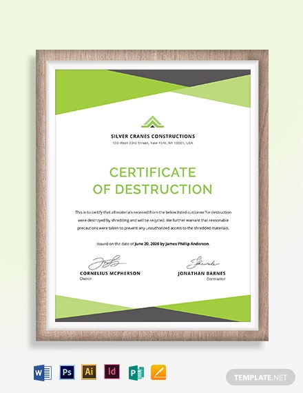 Printable Certificate of Destruction Template