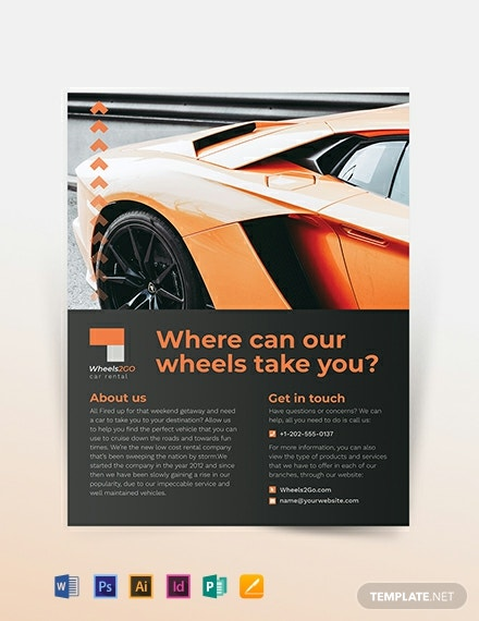 car rental company flyer template 440x570 1