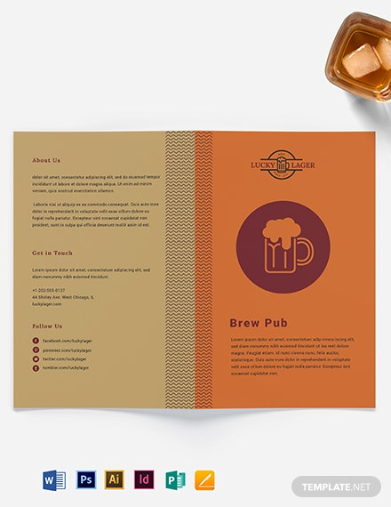 Brew Pub Take-out Bifold Brochure Template