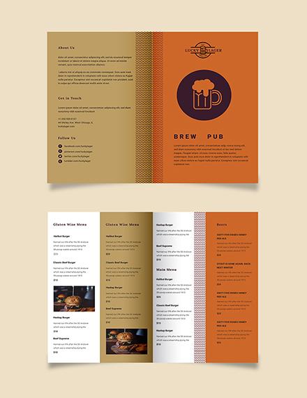 Brew Pub Take-out Bifold Brochure Template