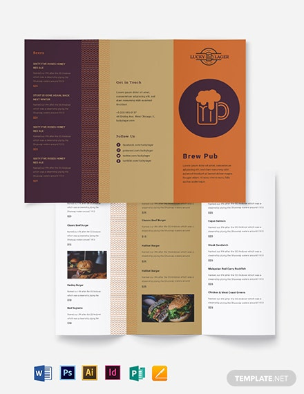 Brew Pub Take-out Trifold Brochure Template