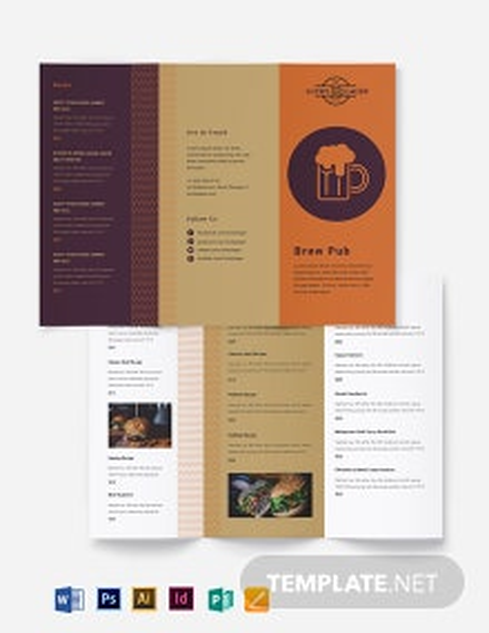 Brew Pub Takeout Tri-Fold Brochure Template