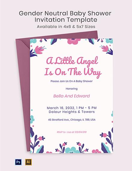 Floral Gender Neutral Baby Shower Invitation Template