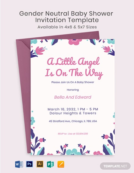 Floral Gender Neutral Baby Shower Invitation Template