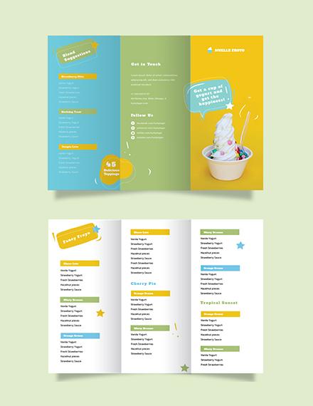 Frozen Yogurt Shop Take-out Trifold Brochure Template