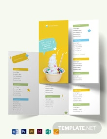 Frozen Yogurt Shop Take-out Trifold Brochure Template