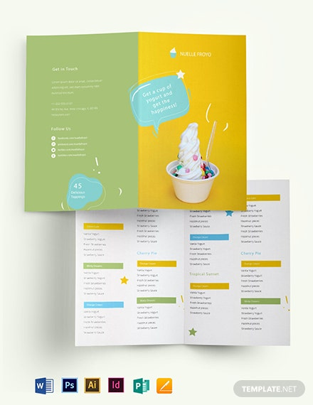 Frozen Yogurt Shop Take-out Bifold Brochure Template