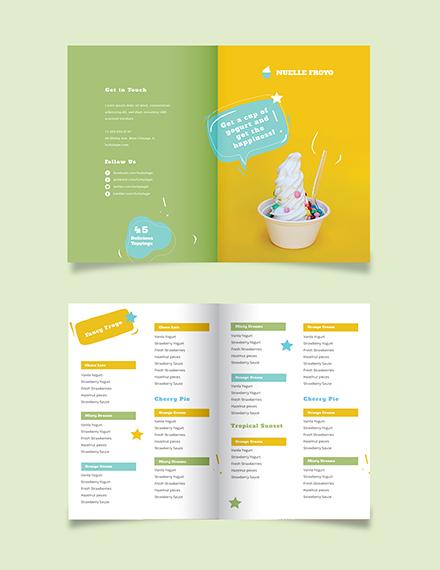 Frozen Yogurt Shop Take-out Bifold Brochure Template