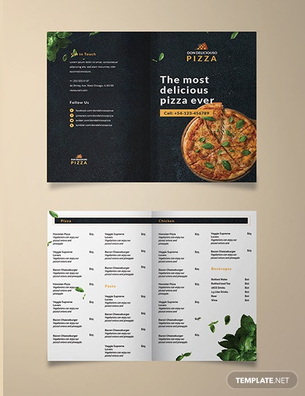 Pizza Parlor Take-out Bifold Brochure Template