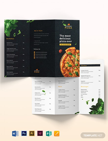 Pizza Parlor Take-out Trifold Brochure Template