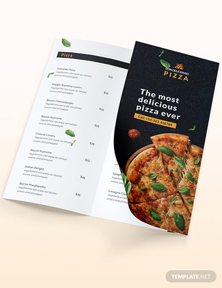 Sample Pizza Parlor Takeout Trifold Brochure