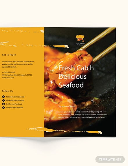 Sample Seafood Restaurant Takeout Bifold Brochure