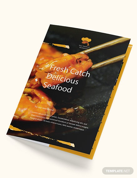 Seafood Restaurant Takeout Bifold Brochure Download