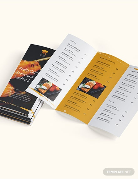 Sample Seafood Restaurant Takeout Trifold Brochure