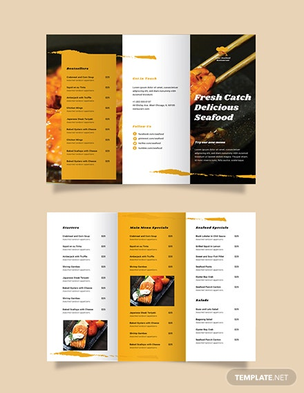 Seafood Restaurant Take-out Trifold Brochure Template