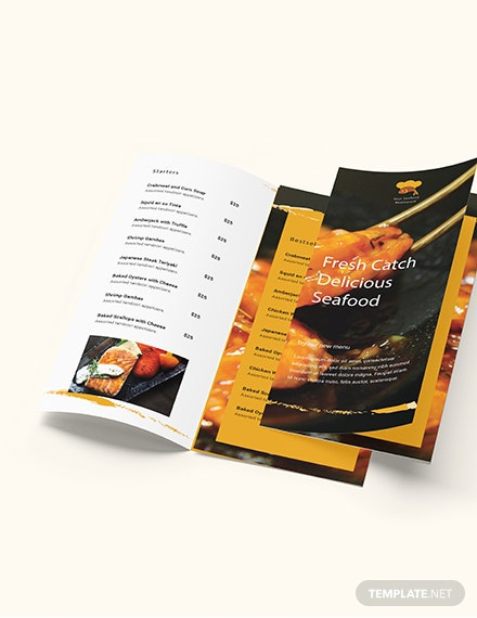 Seafood Restaurant Takeout Trifold Brochure Download