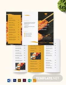 Seafood Restaurant Takeout Tri-Fold Brochure Template