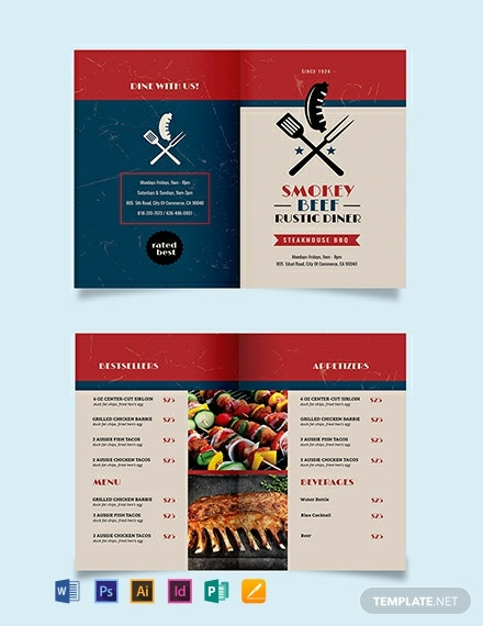 Steakhouse BBQ Restaurant Take-out Bifold Brochure Template