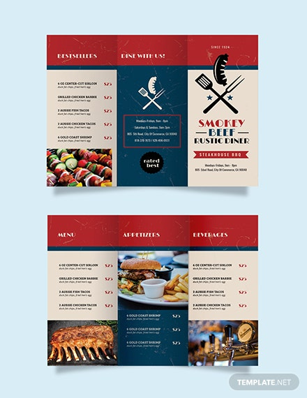 Steakhouse BBQ Restaurant Take-out Trifold Brochure Template
