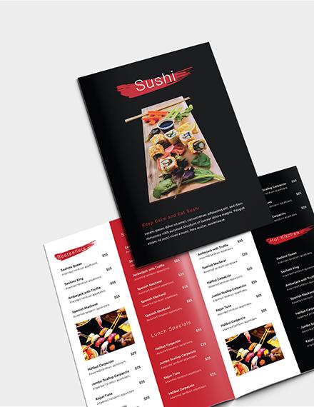 Sample Sushi Restaurant Takeout Bifold Brochure