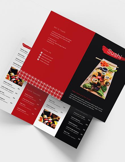 Sushi Restaurant Takeout Bifold Brochure Download